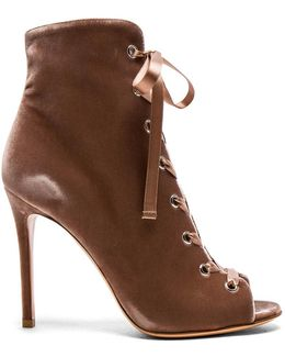 For Fwrd Velvet Lace Up Booties