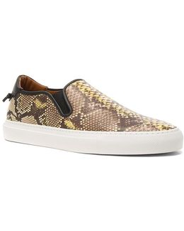 Python Printed Slip On Printed Leather Sneakers