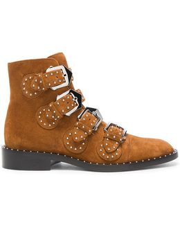 Elegant Studded Suede Ankle Boots