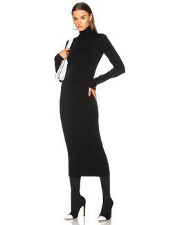 Wool And Cotton-blend Jersey Turtleneck Midi Dress