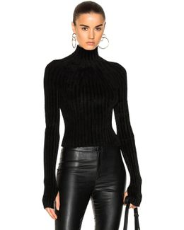 Velveteen Cropped T Neck Top
