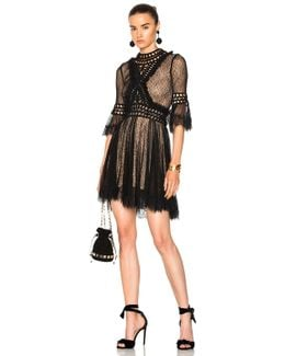Crochet Panel Dress In Black