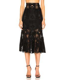 Corded Linear Godet Skirt