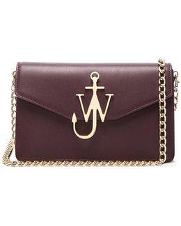 Logo Chain Bag In Bordeaux