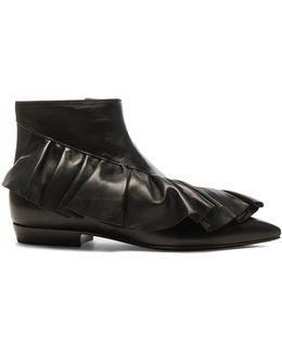 Leather Ruffle Booties