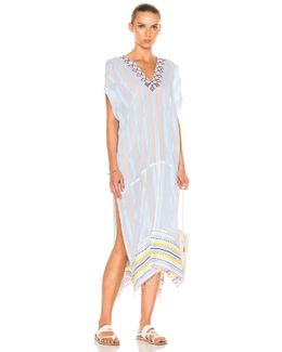 Edna Embroidered Caftan In Sky