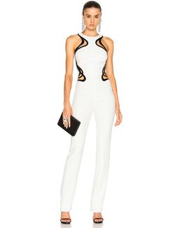 Technical Cady Leather Embossed Wave Jumpsuit In Off White