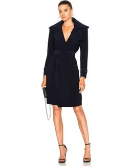 Double Breasted Trench Wrap Dress In Midnight