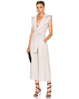 Double Breasted Trench Jumpsuit In Oyster