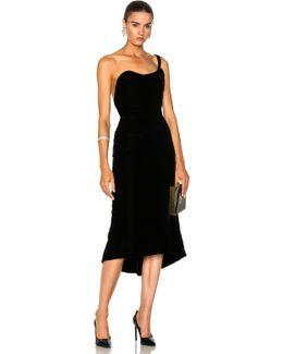 Velvet One Shoulder Cocktail Dress In Black