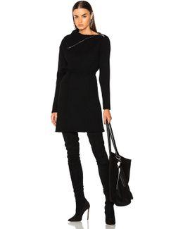 Wool Cashmere Backless Turtleneck Dress