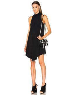 Satin Back Crepe Turtleneck Swing Dress