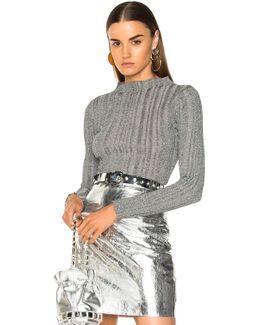 Lurex Turtleneck Sweater In Silver