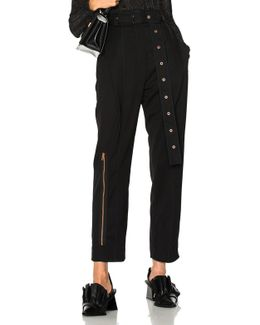 Lightweight Wool Suiting Pleated Straight Pant In Black