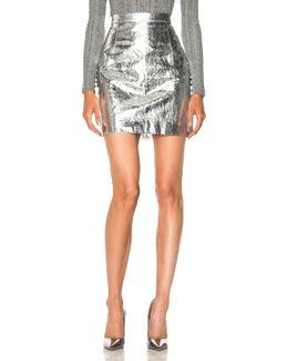 Lightweight Metallic Leather Mini Skirt In Silver