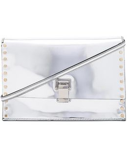 Small Studded Lunch Bag With Shoulder Strap In Silver