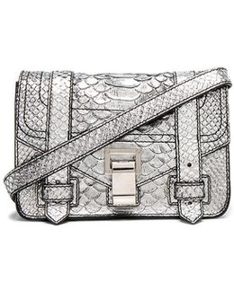 Mini Crossbody Ps1+ Metallic Embossed Python In Silver
