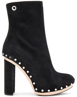 Stud-embellished Suede Ankle Boots