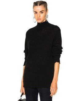 Distressed Edge Cashmere Turtleneck Sweater In Black