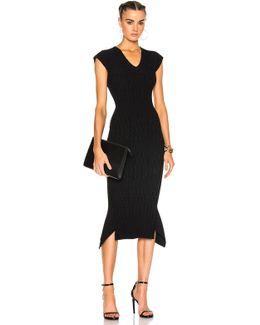 Stockcross Wave Rib Viscose Knit Dress In Black