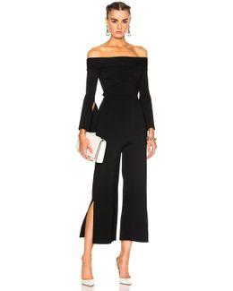 Felbridge Plain Birdseye Stitch Jumpsuit In Black
