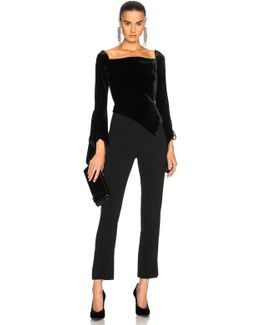 Rayleigh Off-the-shoulder Velvet And Crepe Jumpsuit