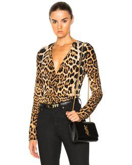 Leopard Deep V Drape Blouse