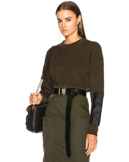 Patch Sleeve Fined Ribbed Sweater
