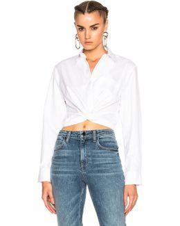 Cotton Twill Twist Front Long Sleeve Shirt