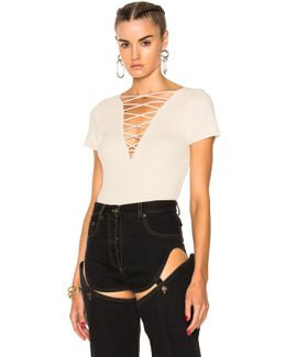 Cotton Cashmere Lace Up Short Sleeve Pullover