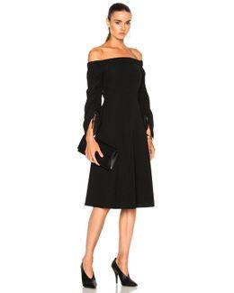 Tie Sleeve Dress In Black