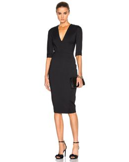 Microbrush Short-sleeved Fitted Dress