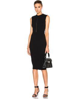 Double Crepe Sleeveless Sheer Inset Dress