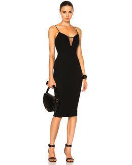 Matte Crepe & Tulle Sheer Insert Strap Fitted Dress