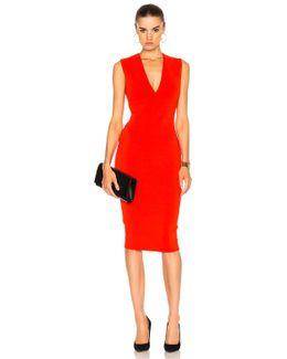 Matte Jersey Sleeveless V Neck Fitted Dress