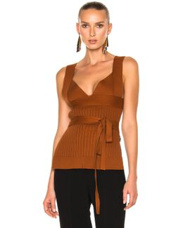 Irregular Knit Top W/bra And Bow Detail