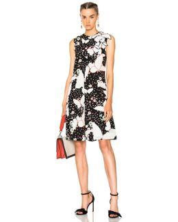 Butterfly Print Crepe De Chine Sleeveless Dress