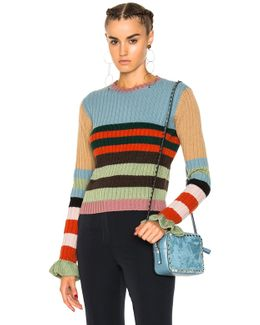 Striped Fluted-cuff Ribbed-knit Wool Sweater