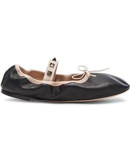 Rockstud Leather Ballerina Flats