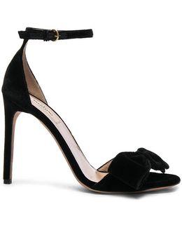 Velvet Bow Heels