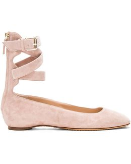 Suede Ankle Strap Flat