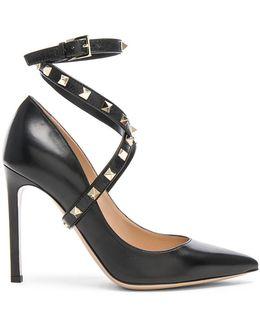 Leather Rockstud Strap Heels