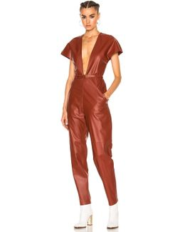 V-neck Leather Jumpsuit In Brick