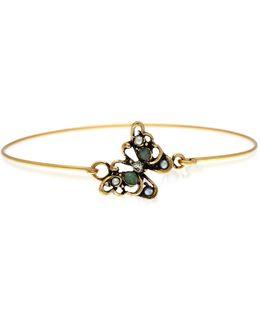 Butterfly Goldtone Brass Bangle W/glass Pearls