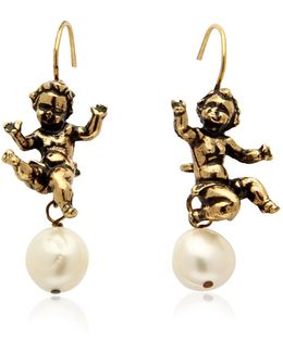 Naughty Children Gold Plated Brass And Glass Pearl Earrings