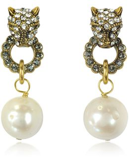 Small Panthers Goldtone Brass W/glass Pearls Drop Earrings
