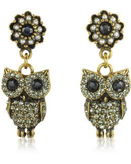 Hanging Goldtone Brass W/crystals Drop Earrings