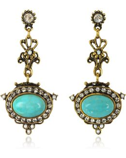 Magnesite Goldtone Brass Earrings W/crystals