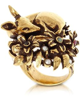 Fawn Goldtone Brass Ring W/glass Pearl
