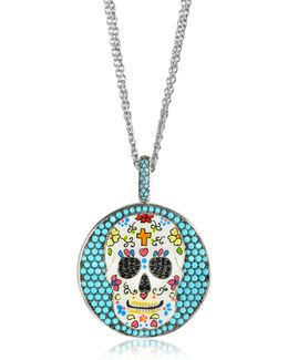 Calavera Skull Charm Rhodium Plated Sterling Silver Pendant Necklace